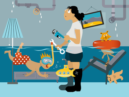 Kid snorkeling in a flooded room, his mother looking at the leaking plumbing, EPS 8 vector illustration