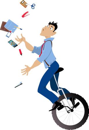 Jonge mens die een unicycle berijden en om bureauhulpmiddelen, EPS 8 vectorillustratie te jongleren met Stock Illustratie