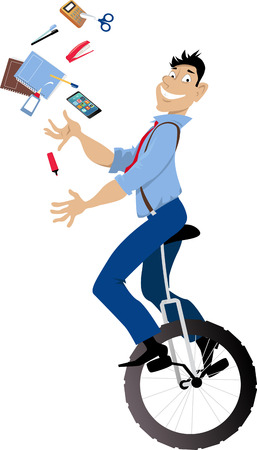 Young man riding a unicycle and juggling office tools, EPS 8 vector illustration