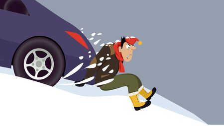 snow tires: Man pushing a stalled car uphill, EPS 8 vector illustration