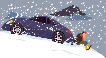 Man pushing a stalled car under a heavy snow, EPS 8 vector illustration