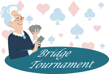 Elderly woman playing cards, Bridge Tournament is written on the table, EPS 8 vector illustration Stock Illustratie