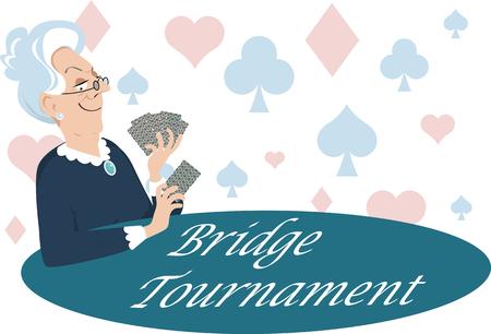 Elderly woman playing cards, Bridge Tournament is written on the table, EPS 8 vector illustration Ilustração