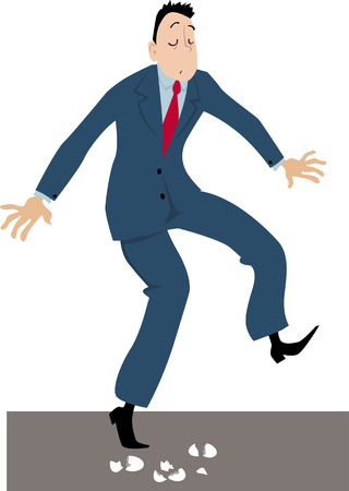 Businessman walking on eggshells, EPS 8 vector illustration Illusztráció