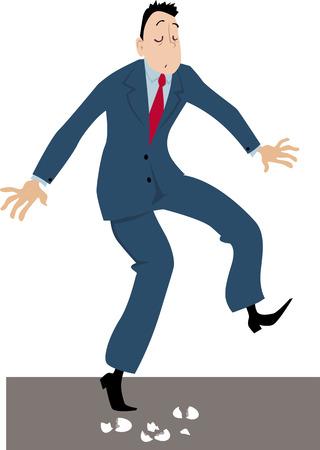 Businessman walking on eggshells, EPS 8 vector illustration Illustration
