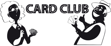 Vector silhouette of two mature people playing cards and text Card Club Illusztráció
