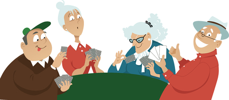Four seniors playing cards, EPS 8 vector illustration  イラスト・ベクター素材