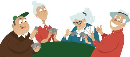 Four seniors playing cards, EPS 8 vector illustration Illustration