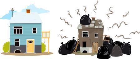 Stinkende huis begraven onder vuilniszakken problemen te maken voor zijn buren, EPS-8 vector illustratie