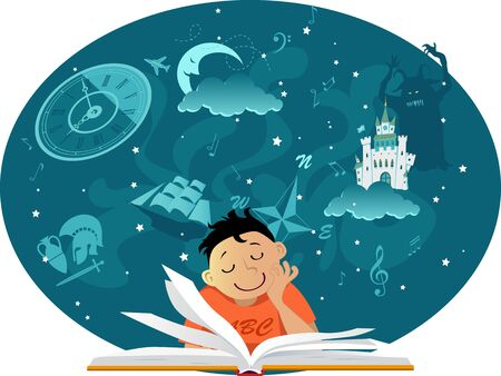 Little boy reading a book, imaginary fantastic images hovering over it, EPS 8 vector illustration, no transparencies