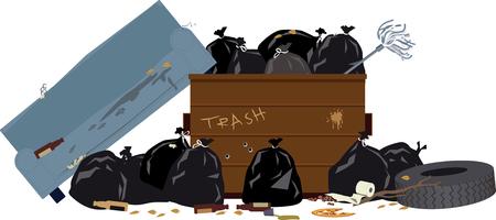 Benne à ordures débordante avec sacs à ordures, pneu et vieux canapé, illustration vectorielle EPS 8 Banque d'images - 75335604