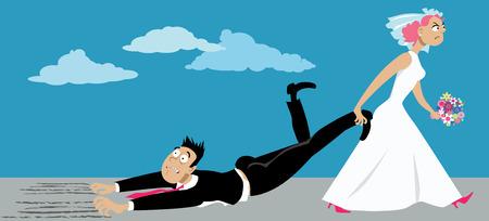 Vergüenza mujer en un vestido de novia arrastra a un novio renuente que está sufriendo de un miedo de compromiso