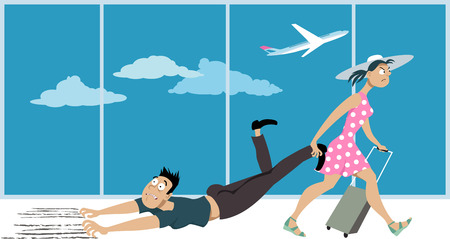 affected: Woman dragging a man whos affected by a fear of flying through an airport, EPS 8 vector illustration