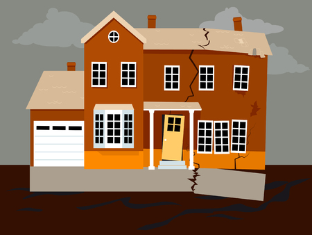 House falling apart because of a foundation failure, EPS 8 vector illustration