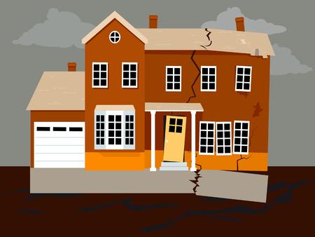 基礎障害によりバラバラの家、EPS 8 ベクトル イラスト