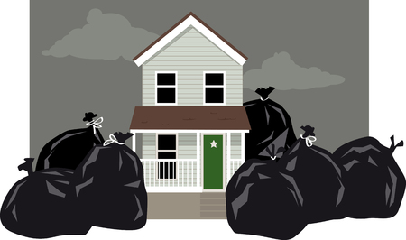 botar basura: House surrounded by garbage bags as a result of a garbage collectors strike, EPS 8 vector illustration