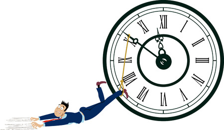 Man is dragged by his feet tide to a clock arm, EPS 8 vector illustration