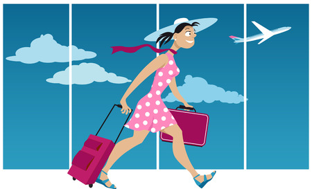 anticipation: Happy woman with luggage walking through the airport, preparing to board a plane, EPS 8 vector illustration