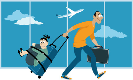 affected: Man is dragging a woman whos affected by a fear of flying through an airport, tide up to a suitcase, EPS 8 vector illustration