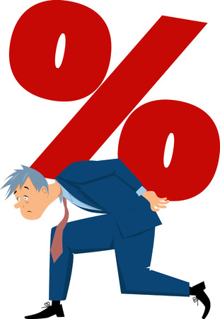Exhausted man carrying a percentage sign, EPS 8 vector illustration