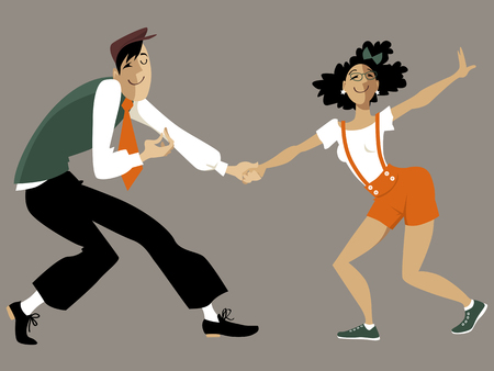 Cute cartoon couple dancing lindy hop or swing, EPS 8 vector illustration, no transparencies