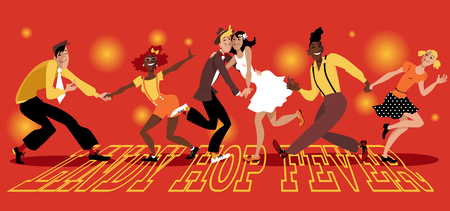 """People dressed in vintage fashion dancing swing, """"Lindy Hop Fever"""" is written on the dance floor, EPS 8 vector illustration, no transparencies, no mesh"""
