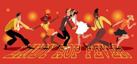 """La gente vestida de moda vintage bailando swing, """"Lindy Hop Fever"""" está escrito en la pista de baile, EPS 8 ilustración vectorial, sin transparencias, sin malla"""