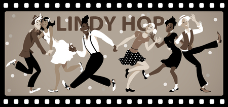 People dressed in vintage fashion dancing in an old black and white movie film frame, EPS 8 vector illustration