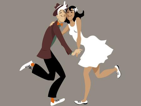 Leuke cartoon paar dansen lindy hop of swing, EPS 8 vector illustratie, geen transparanten op as grijze achtergrond