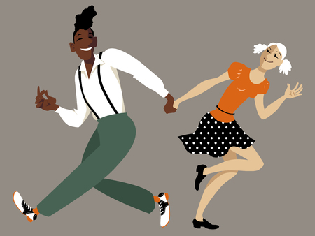 Cool cartoon couple dancing lindy hop or swing, EPS 8 vector illustration, no transparencies