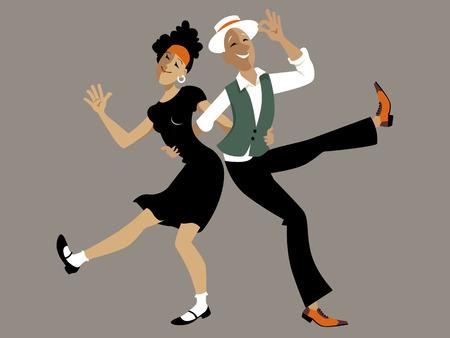 Dulce pareja de dibujos animados bailando lindy hop o el swing, EPS 8 ilustración vectorial, no transparencias
