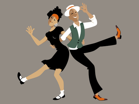 Sweet cartoon couple dancing lindy hop or swing, EPS 8 vector illustration, no transparencies