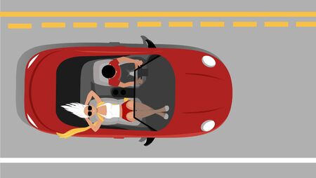 Young couple travelling in a convertible, view from above, EPS 8 vector illustration
