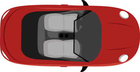 Convertible two-seater cabriolet with a top down, view from above, vector illustration, not a representation of an actual car Illustration
