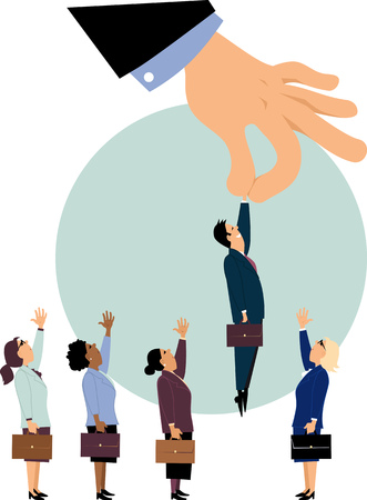Giant managerial hand piking a man from a row of potential candidates for a job, ignoring women, EPS 8 vector illustration