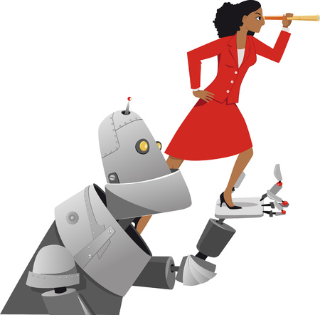 Giant robot holding a businesswoman with a telescope, helping her to look further ahead, EPS 8 vector illustration Çizim
