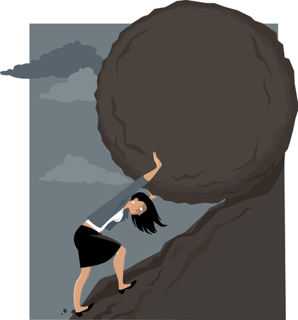 Woman rolling a huge rock uphill, EPS 8 vector illustration