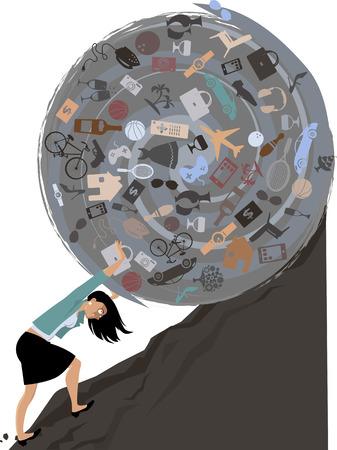 compras compulsivas: Mujer rodando una enorme bola de posesiones cuesta arriba, EPS 8 ilustración vectorial