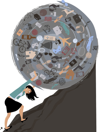Woman rolling a huge ball of possessions uphill, EPS 8 vector illustration Illustration