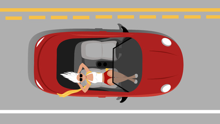 Woman relaxing on on a passenger seat of a moving self-driving car, EPS 8 vector illustration Illustration