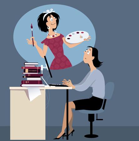 Vrouw vast aan een saaie job dromen van een creatieve carriere, EPS 8 vector illustratie Stock Illustratie