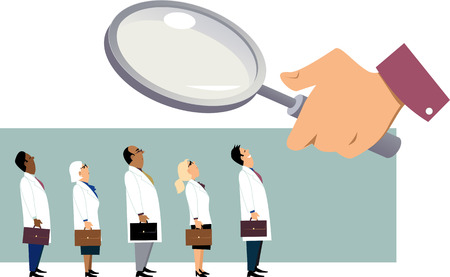 practice primary: Searching for a doctor. Giant hand with a magnifying glass examining a line of people in white coats, EPS 8 vector illustration Illustration