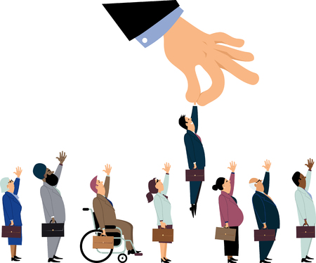 Giant managerial hand picking up a white male from a line of a diverse job candidates as a metaphor for a discrimination during an employment interview, EPS 8 vector illustration Illustration