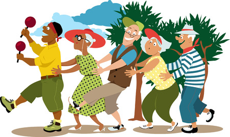 Group of active seniors led by a young volunteer in a conga line dance, EPS 8 vector illustration
