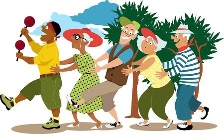 Grupo de personas mayores activas dirigido por un joven voluntario en una danza de línea de conga, EPS 8 ilustración vectorial