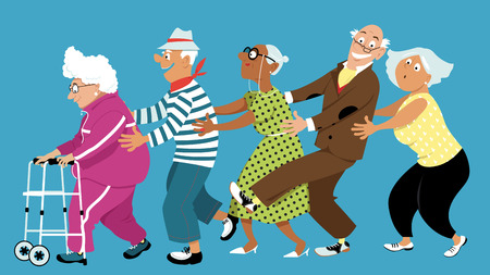 Diversi gruppi di persone anziane attive ballando una linea conga, EPS 8 illustrazione vettoriale, senza lucidi