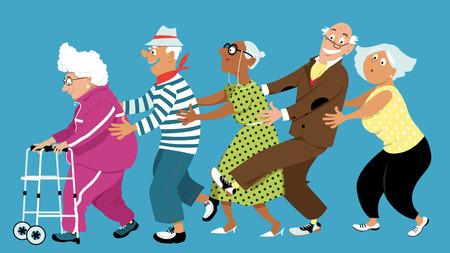 Grupo diversificado de idosos ativos dançando uma linha de conga, ilustração em vetor EPS 8, sem transparências