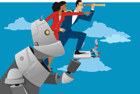 Giant robot holding business people, helping them to look further ahead, EPS 8 vector illustration Illustration