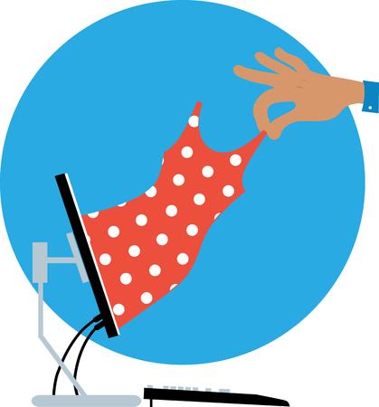 Mano humana tirando de un vestido de un monitor de computadora como una metáfora de compras en línea, EPS 8 ilustración vectorial