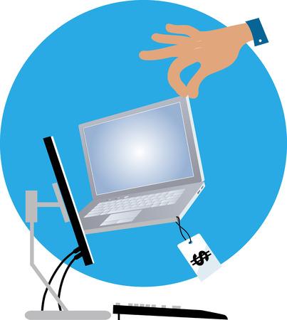 Menselijke hand die laptop uit een computermonitor trekken als metafoor voor online winkelend, EPS 8 vectorillustratie Stock Illustratie